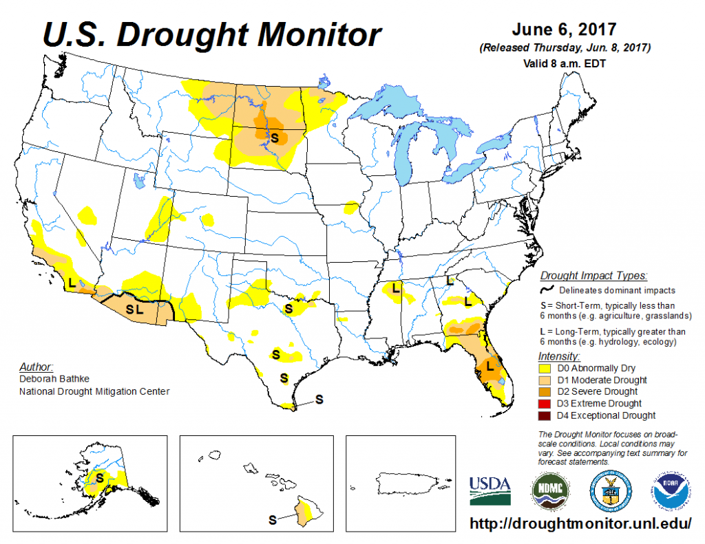 Drought monitor map, June 2017