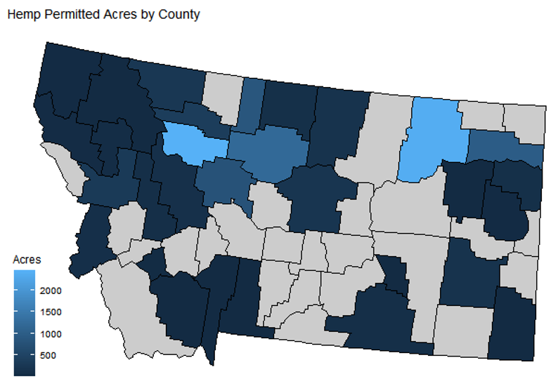 Montana map showing hemp acres by county
