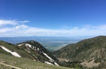 View from Sacajawea Peak showing two yellow fields in the distance