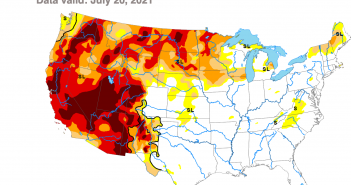 US drought monitor as of July 22, 2021. Much of the West is in extreme or exceptional drought.