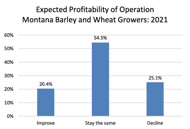 Graph showing expected profitability of operations; 54% report expecting to stay the same